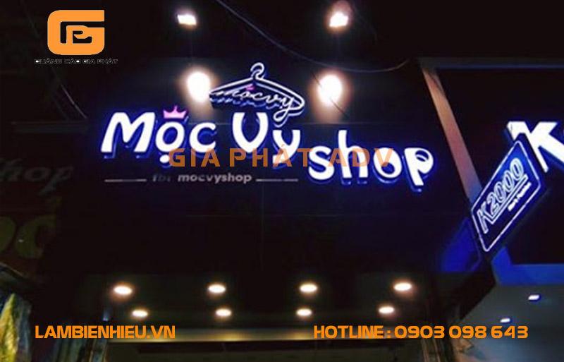 Mẫu bảng hiệu alu chữ nổi Mộc Vy Shop