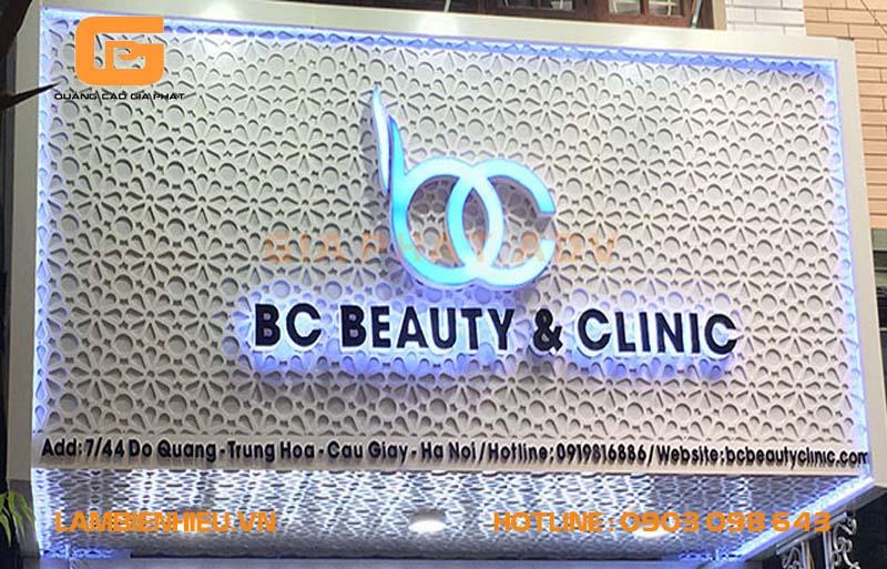 Mẫu biển hiệu spa thẩm mỹ viện BC Beauty & Clinic