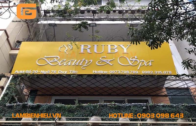 Mẫu bảng hiệu quảng cáo Ruby Beauty & Spa