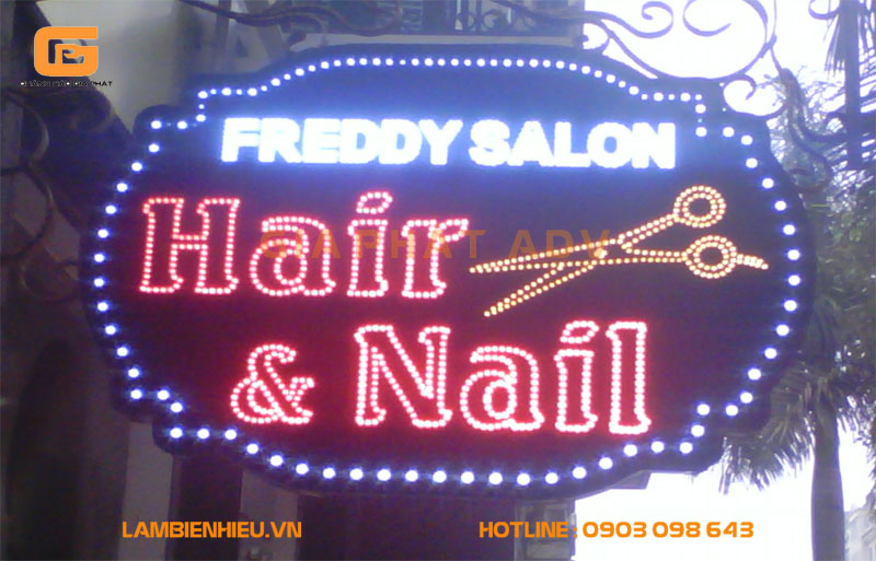 Biển hiệu quán cắt tóc gội nhuộm đẹp