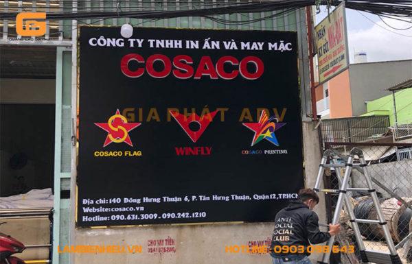 Bảng hiệu alu chữ nổi mica công ty TNHH in ấn và may mặc COSACO
