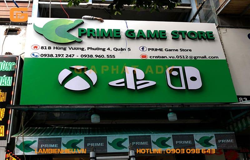 Bảng hiệu alu mica cửa hàng Prime Game Store