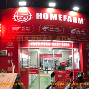 Bảng hiệu mica alu chuỗi siêu thị HomeFarm